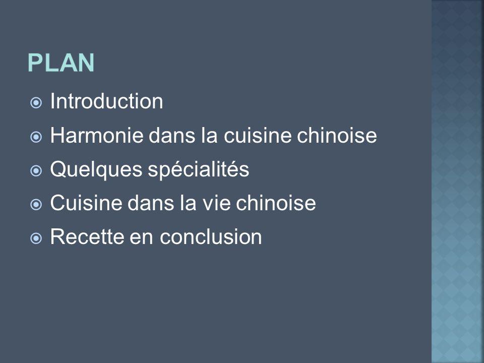 Introduction Harmonie dans la cuisine chinoise Quelques spécialités Cuisine dans la vie chinoise Recette en conclusion