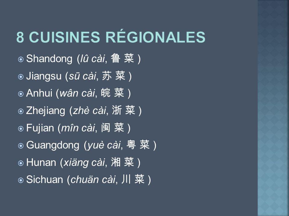 Shandong (lû cài, ) Jiangsu (sū cài, ) Anhui (wân cài, ) Zhejiang (zhè cài, ) Fujian (mîn cài, ) Guangdong (yuè cài, ) Hunan (xiäng cài, ) Sichuan (ch