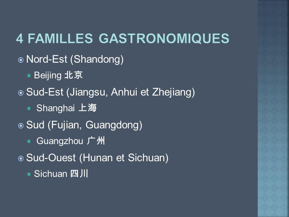 Nord-Est (Shandong) Beijing Sud-Est (Jiangsu, Anhui et Zhejiang) Shanghai Sud (Fujian, Guangdong) Guangzhou Sud-Ouest (Hunan et Sichuan) Sichuan