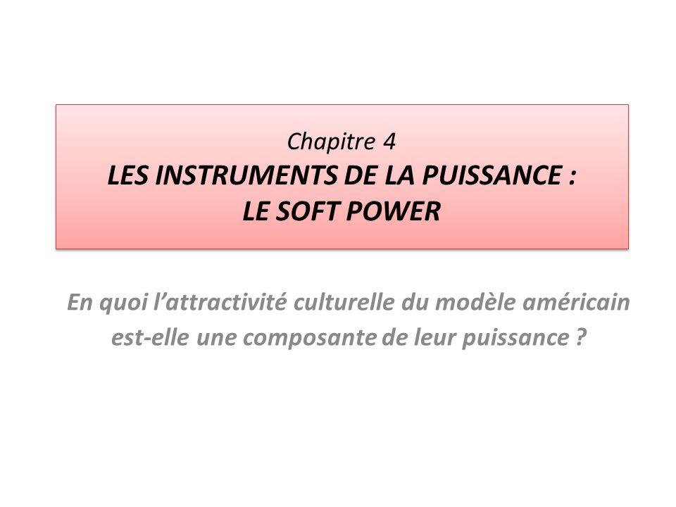 Chapitre 4 LES INSTRUMENTS DE LA PUISSANCE : LE SOFT POWER En quoi lattractivité culturelle du modèle américain est-elle une composante de leur puissa