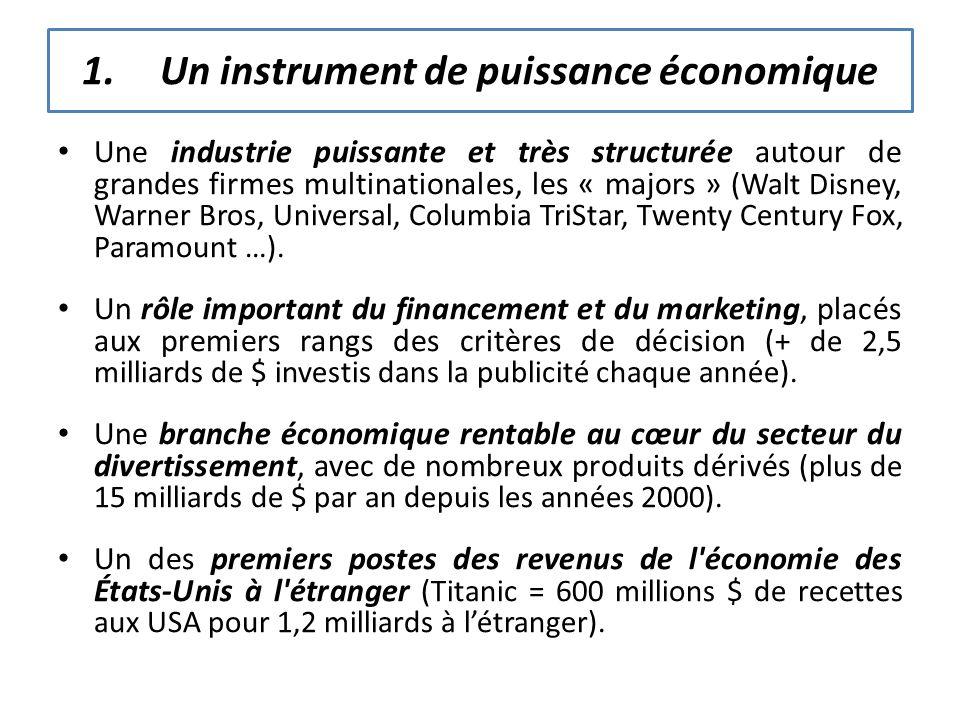 1.Un instrument de puissance économique Une industrie puissante et très structurée autour de grandes firmes multinationales, les « majors » (Walt Disn