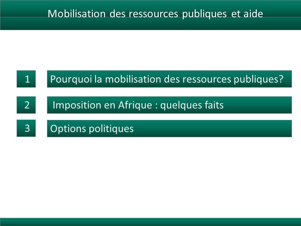 Mobilisation des ressources publiques et aide Pourquoi la mobilisation des ressources publiques.