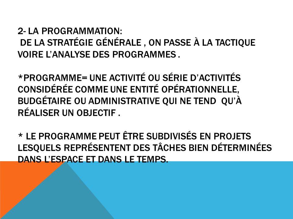 2- LA PROGRAMMATION: DE LA STRATÉGIE GÉNÉRALE, ON PASSE À LA TACTIQUE VOIRE LANALYSE DES PROGRAMMES.