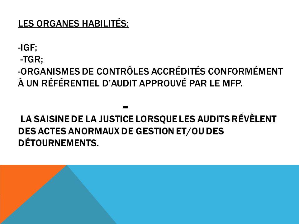 LES ORGANES HABILITÉS: -IGF; -TGR; -ORGANISMES DE CONTRÔLES ACCRÉDITÉS CONFORMÉMENT À UN RÉFÉRENTIEL DAUDIT APPROUVÉ PAR LE MFP.