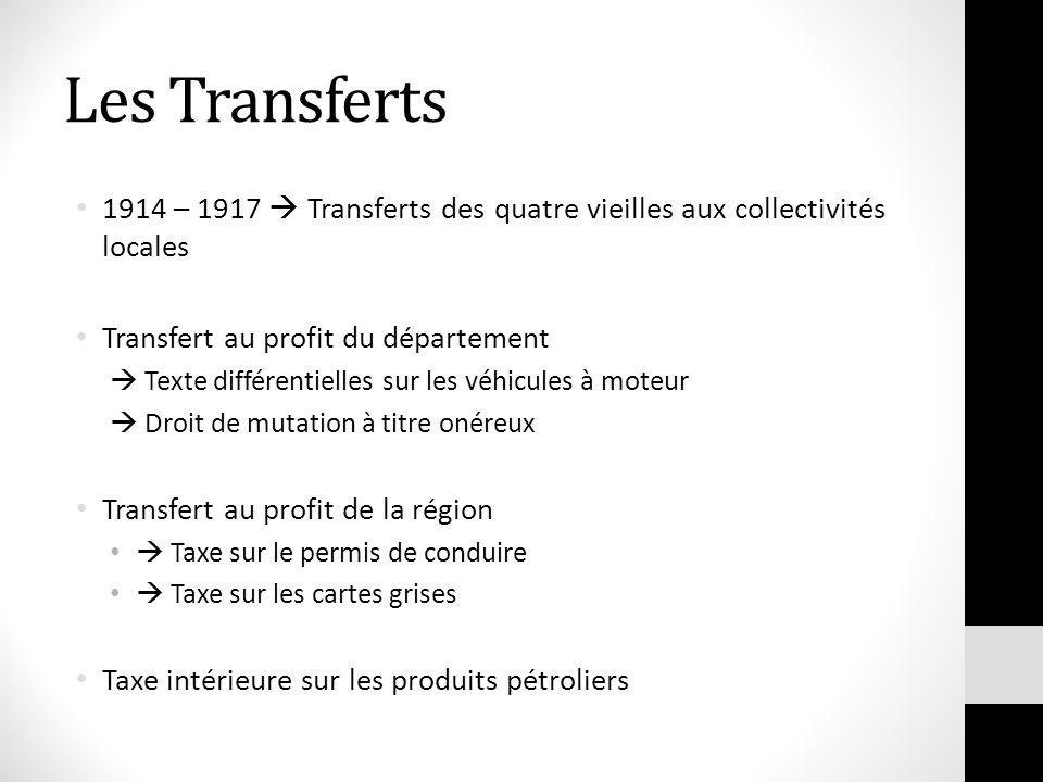 Les Transferts 1914 – 1917 Transferts des quatre vieilles aux collectivités locales Transfert au profit du département Texte différentielles sur les v