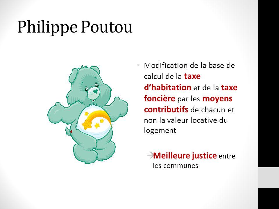 Philippe Poutou Modification de la base de calcul de la taxe dhabitation et de la taxe foncière par les moyens contributifs de chacun et non la valeur