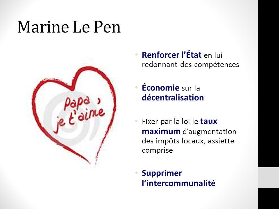 Marine Le Pen Renforcer lÉtat en lui redonnant des compétences Économie sur la décentralisation Fixer par la loi le taux maximum daugmentation des imp
