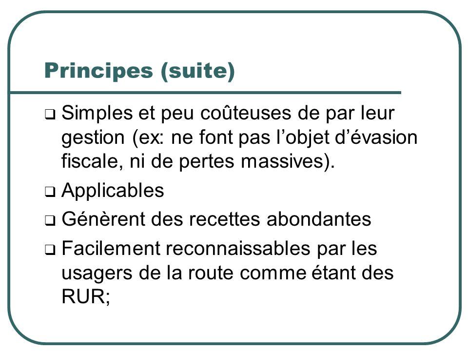Principes (suite) Simples et peu coûteuses de par leur gestion (ex: ne font pas lobjet dévasion fiscale, ni de pertes massives).