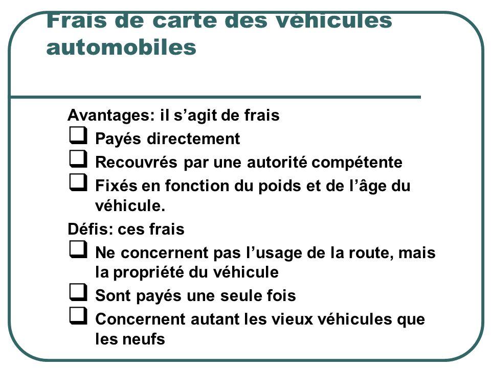 Frais de carte des véhicules automobiles Avantages: il sagit de frais Payés directement Recouvrés par une autorité compétente Fixés en fonction du poids et de lâge du véhicule.