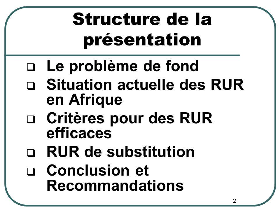 Structure de la présentation Le problème de fond Situation actuelle des RUR en Afrique Critères pour des RUR efficaces RUR de substitution Conclusion et Recommandations 2
