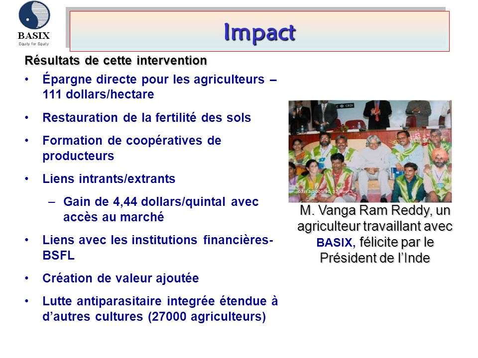 ImpactImpact Résultats de cette intervention Épargne directe pour les agriculteurs – 111 dollars/hectare Restauration de la fertilité des sols Formati