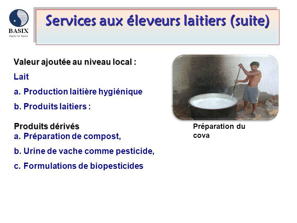 Services aux éleveurs laitiers (suite) Valeur ajoutée au niveau local: Valeur ajoutée au niveau local : Lait a. Production laitière hygiénique b. Prod
