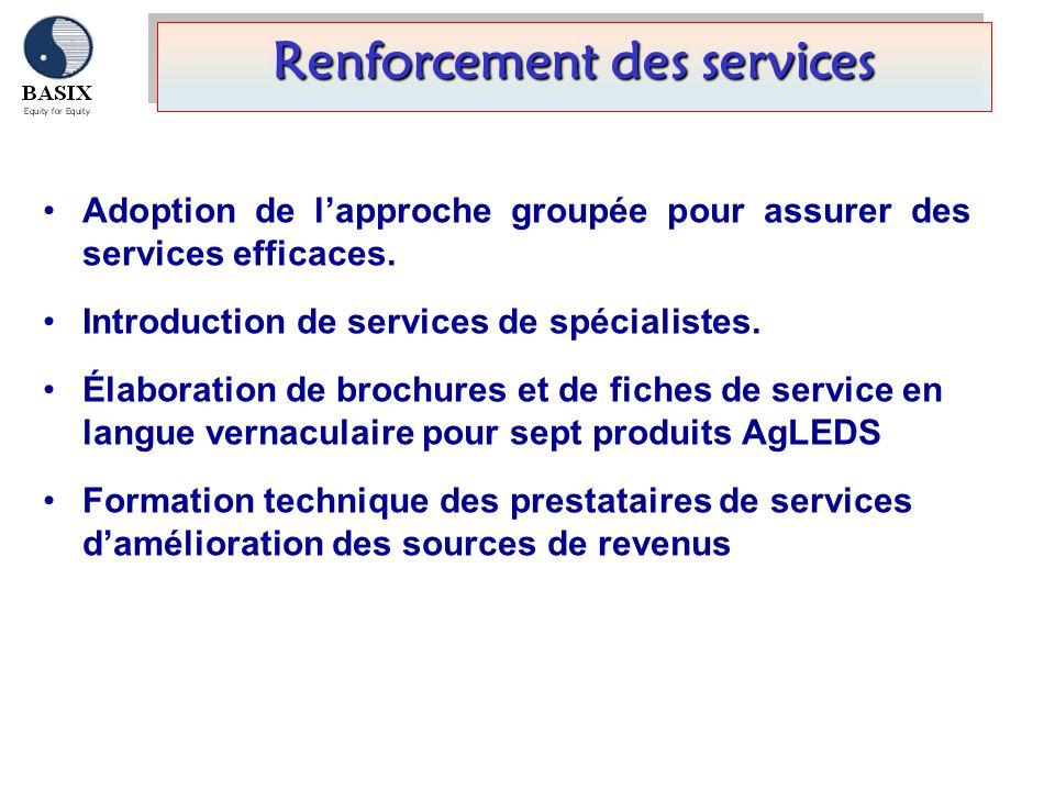 Renforcement des services Adoption de lapproche groupée pour assurer des services efficaces. Introduction de services de spécialistes. Élaboration de