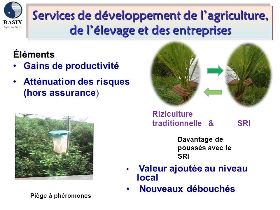 Services de développement de lagriculture, de lélevage et des entreprises Éléments Gains de productivité Atténuation des risques (hors assurance ) Val