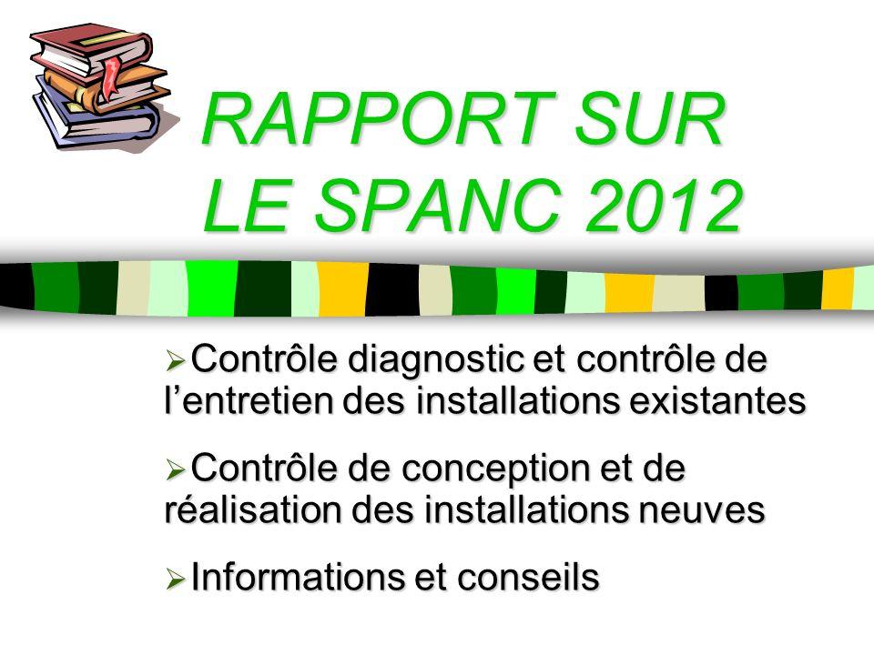 RAPPORT SUR LE SPANC 2012 Contrôle diagnostic et contrôle de lentretien des installations existantes Contrôle diagnostic et contrôle de lentretien des