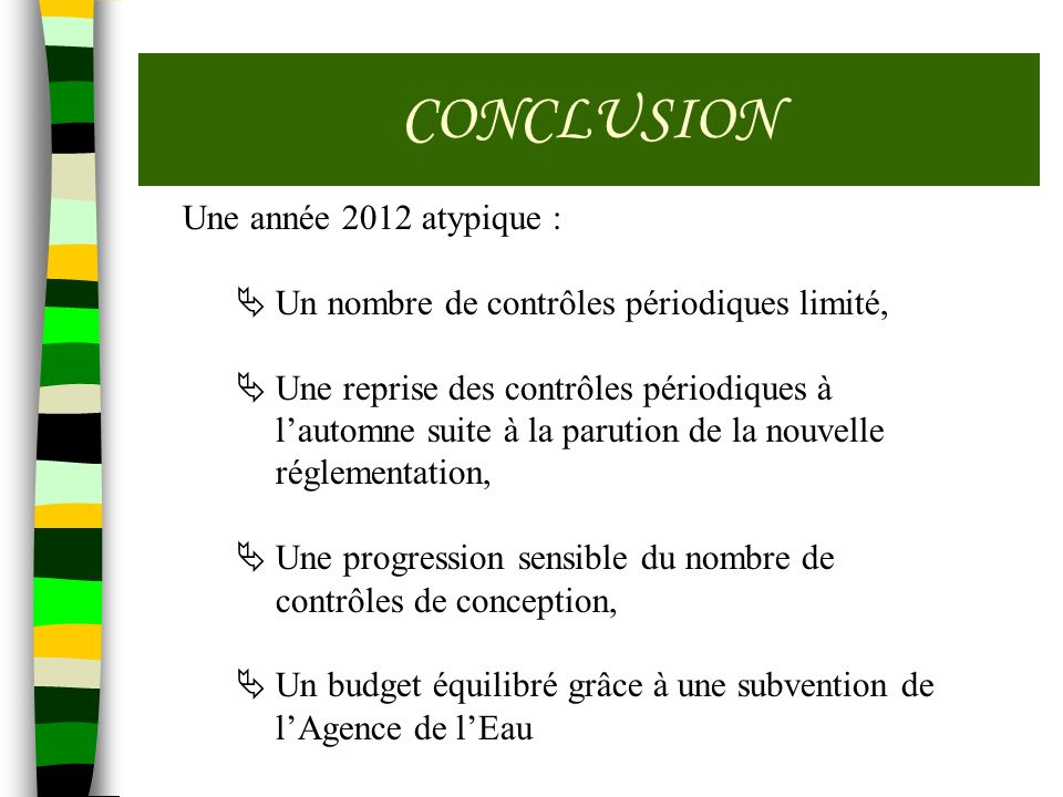 CONCLUSION Une année 2012 atypique : Un nombre de contrôles périodiques limité, Une reprise des contrôles périodiques à lautomne suite à la parution d