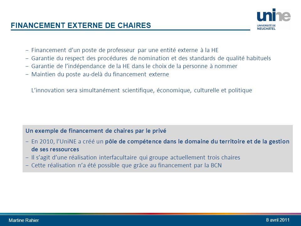 Martine Rahier 8 avril 2011 FINANCEMENT EXTERNE DE CHAIRES Financement dun poste de professeur par une entité externe à la HE Garantie du respect des