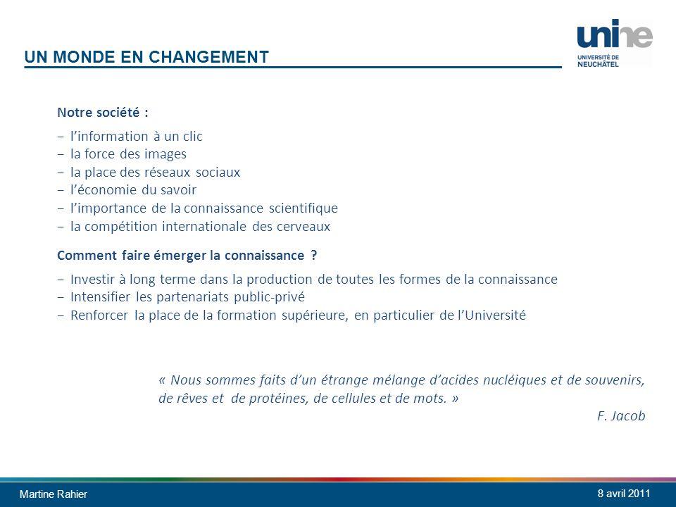 Martine Rahier 8 avril 2011 UN MONDE EN CHANGEMENT Notre société : linformation à un clic la force des images la place des réseaux sociaux léconomie d