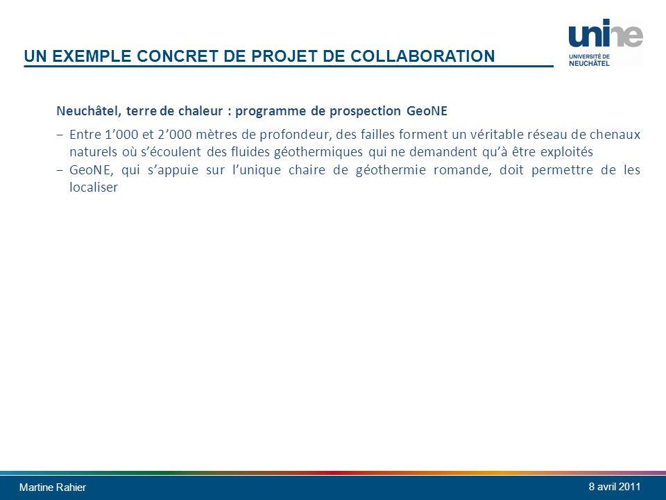 Martine Rahier 8 avril 2011 UN EXEMPLE CONCRET DE PROJET DE COLLABORATION Neuchâtel, terre de chaleur : programme de prospection GeoNE Entre 1000 et 2