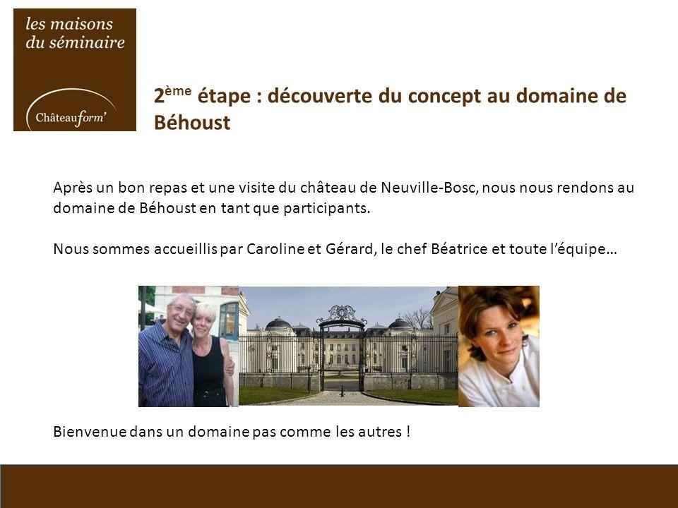 2 ème étape : découverte du concept au domaine de Béhoust Après un bon repas et une visite du château de Neuville-Bosc, nous nous rendons au domaine d