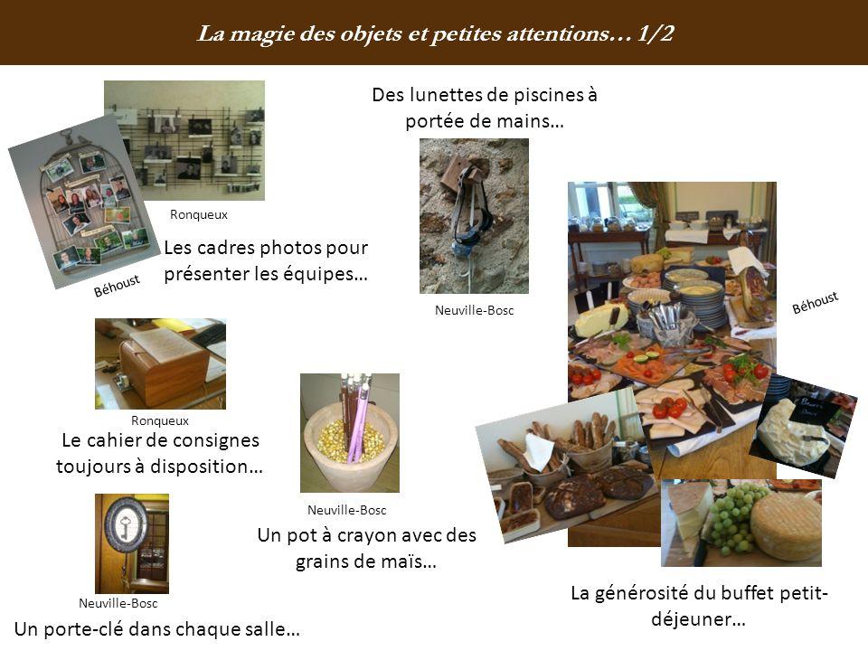 La magie des objets et petites attentions… 1/2 Les cadres photos pour présenter les équipes… Le cahier de consignes toujours à disposition… Un porte-c