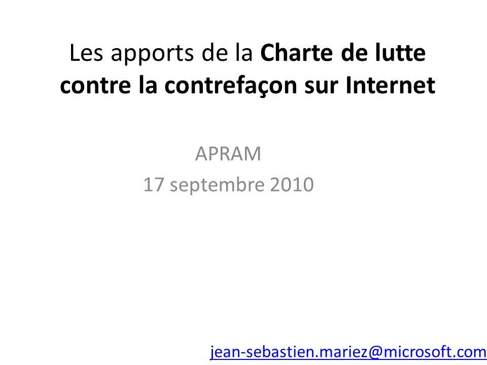 Les apports de la Charte de lutte contre la contrefaçon sur Internet APRAM 17 septembre 2010 jean-sebastien.mariez@microsoft.com