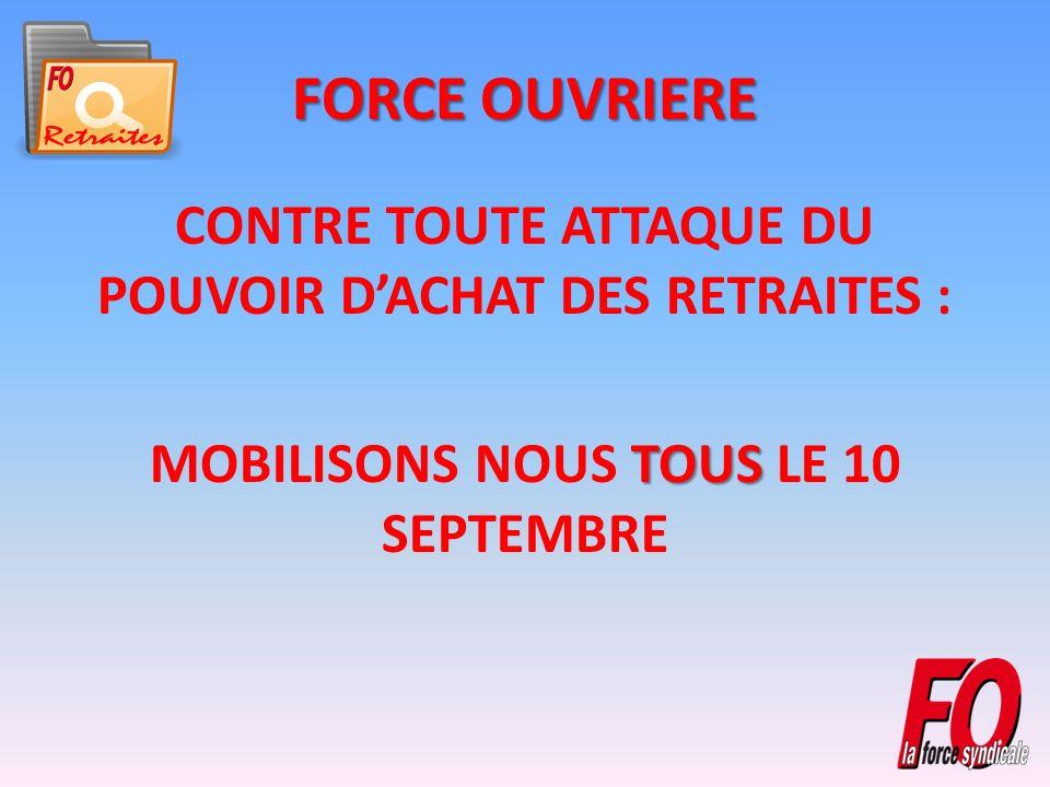 FORCE OUVRIERE CONTRE TOUTE ATTAQUE DU POUVOIR DACHAT DES RETRAITES : TOUS MOBILISONS NOUS TOUS LE 10 SEPTEMBRE