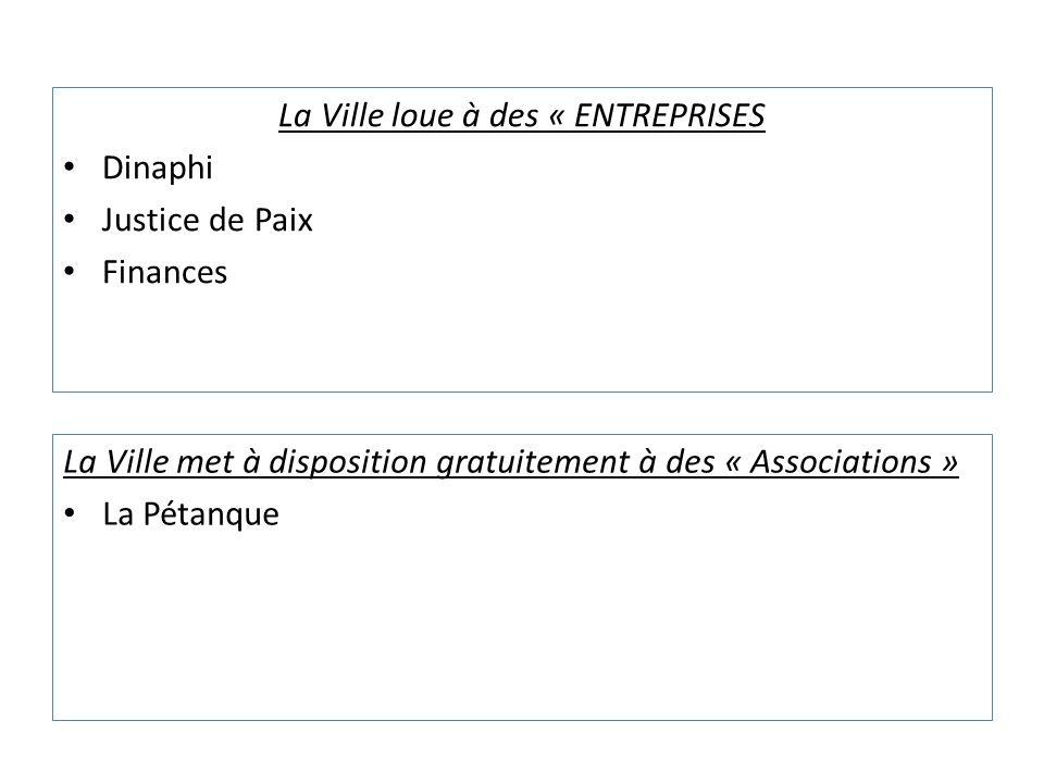 La Ville loue à des « ENTREPRISES Dinaphi Justice de Paix Finances La Ville met à disposition gratuitement à des « Associations » La Pétanque