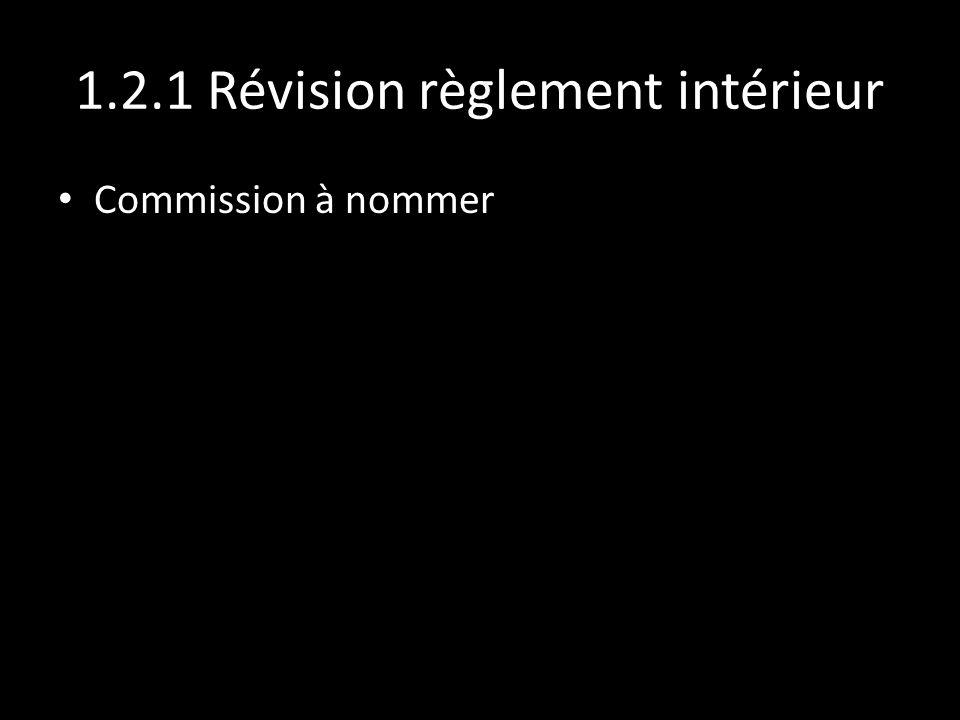 1.2.1 Révision règlement intérieur Commission à nommer