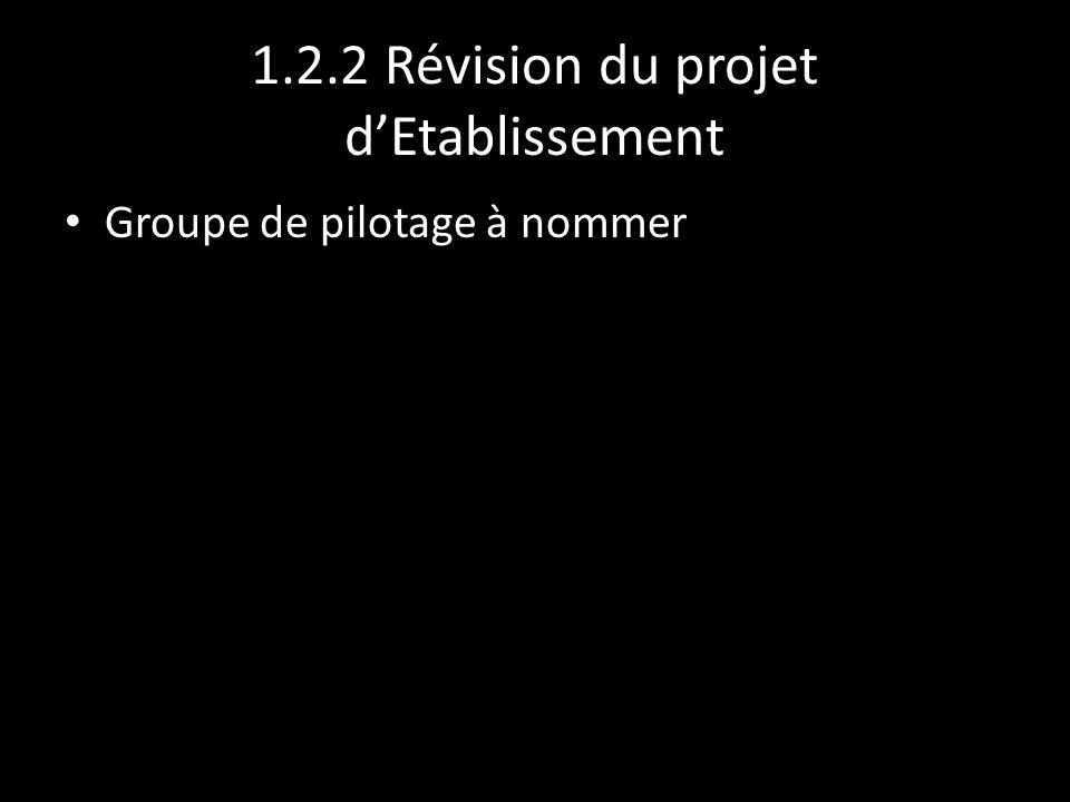1.2.2 Révision du projet dEtablissement Groupe de pilotage à nommer