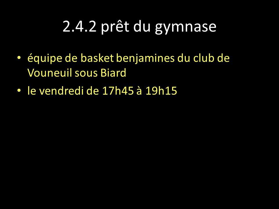 2.4.2 prêt du gymnase équipe de basket benjamines du club de Vouneuil sous Biard le vendredi de 17h45 à 19h15
