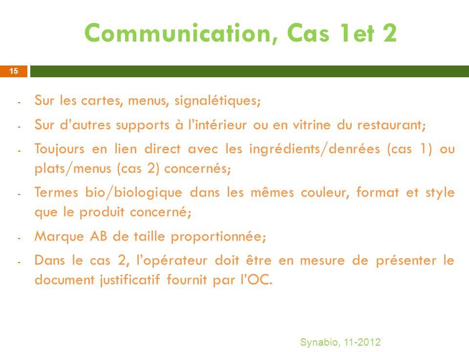 Communication, Cas 1et 2 - Sur les cartes, menus, signalétiques; - Sur dautres supports à lintérieur ou en vitrine du restaurant; - Toujours en lien d