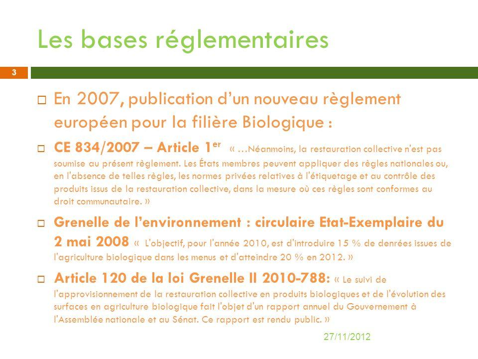 Les bases réglementaires En 2007, publication dun nouveau règlement européen pour la filière Biologique : CE 834/2007 – Article 1 er « …Néanmoins, la