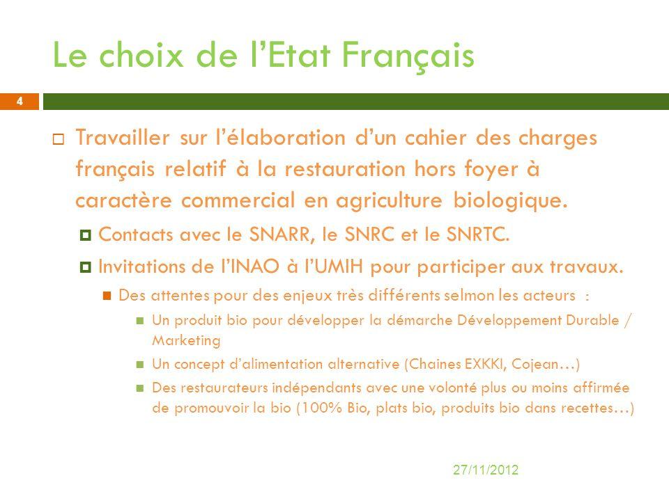 Le choix de lEtat Français Travailler sur lélaboration dun cahier des charges français relatif à la restauration hors foyer à caractère commercial en