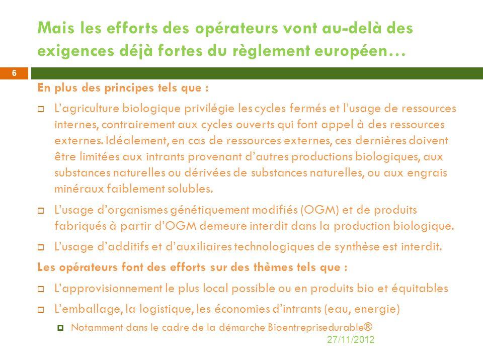 Mais les efforts des opérateurs vont au-delà des exigences déjà fortes du règlement européen… En plus des principes tels que : Lagriculture biologique