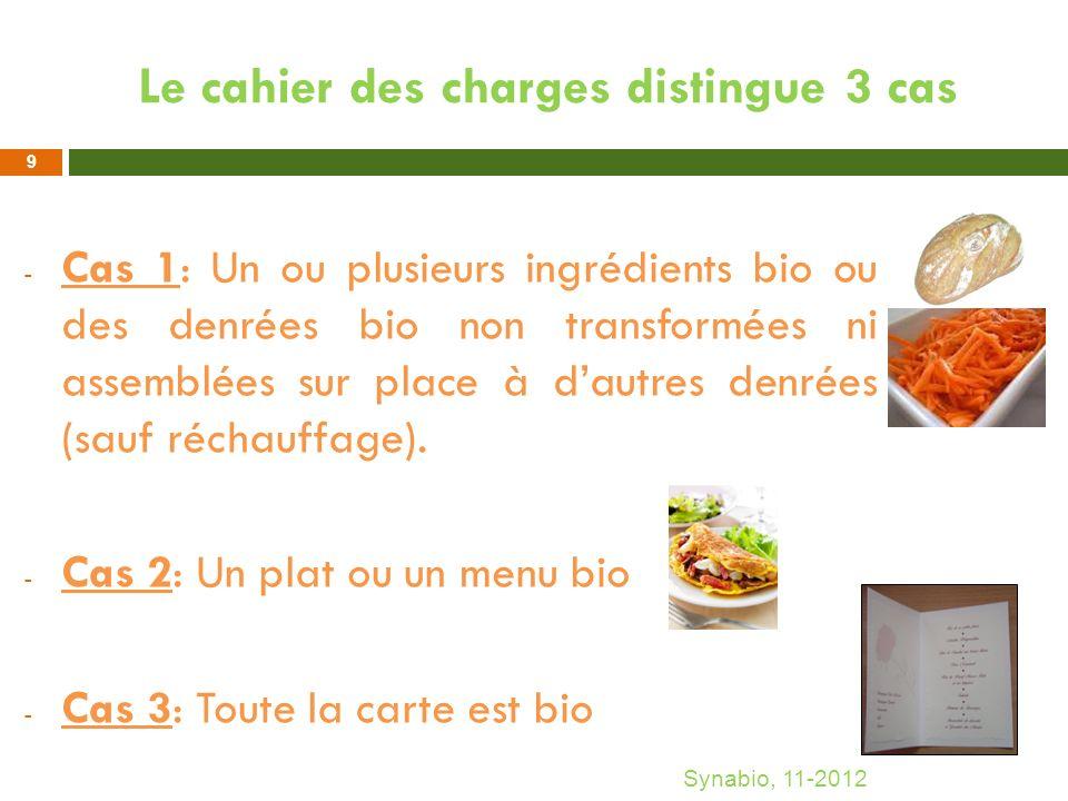 Le cahier des charges distingue 3 cas - Cas 1: Un ou plusieurs ingrédients bio ou des denrées bio non transformées ni assemblées sur place à dautres d