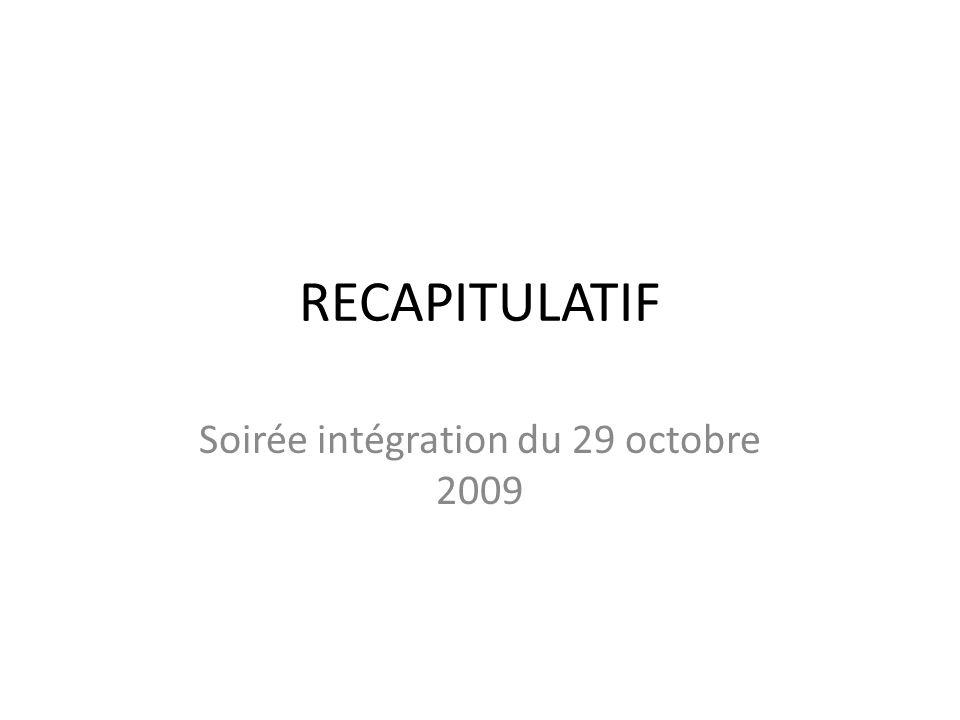 RECAPITULATIF Soirée intégration du 29 octobre 2009