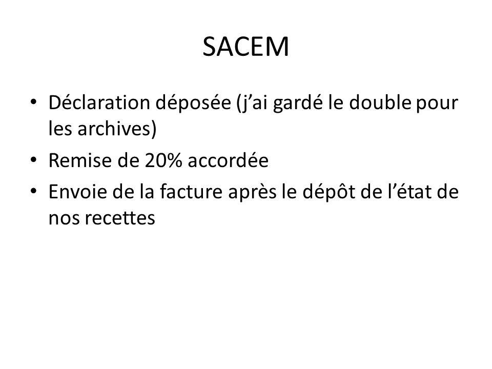 SACEM Déclaration déposée (jai gardé le double pour les archives) Remise de 20% accordée Envoie de la facture après le dépôt de létat de nos recettes