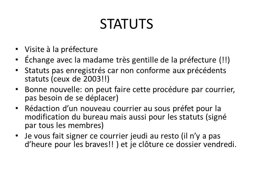STATUTS Visite à la préfecture Échange avec la madame très gentille de la préfecture (!!) Statuts pas enregistrés car non conforme aux précédents stat