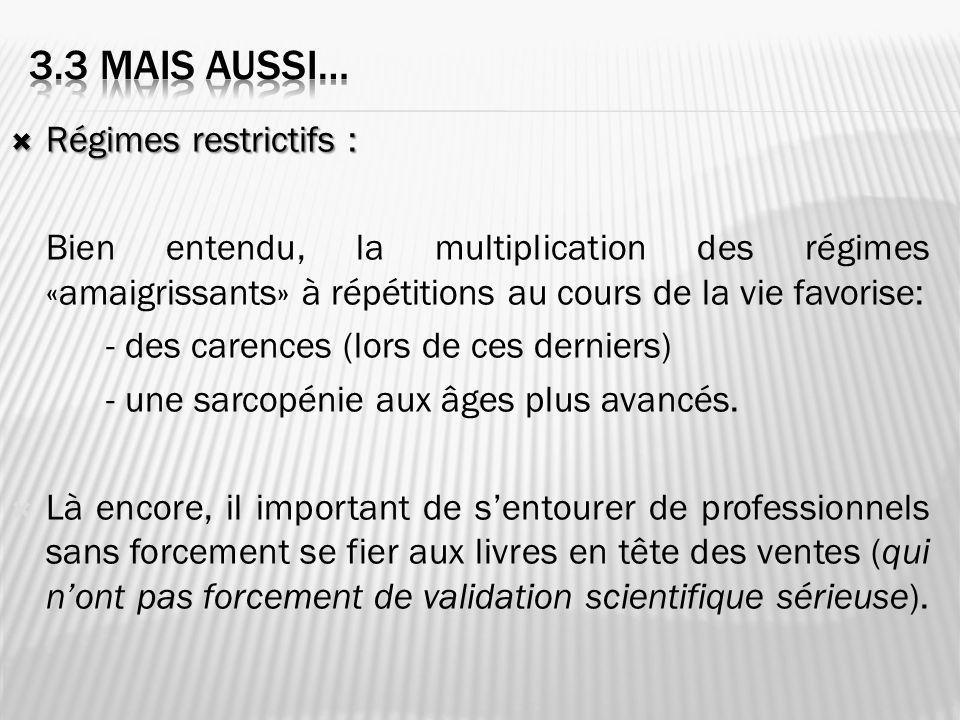 Régimes restrictifs : Régimes restrictifs : Bien entendu, la multiplication des régimes «amaigrissants» à répétitions au cours de la vie favorise: - d