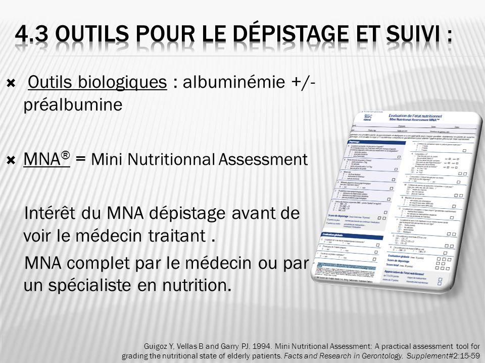 Outils biologiques : albuminémie +/- préalbumine MNA ® = Mini Nutritionnal Assessment Intérêt du MNA dépistage avant de voir le médecin traitant. MNA