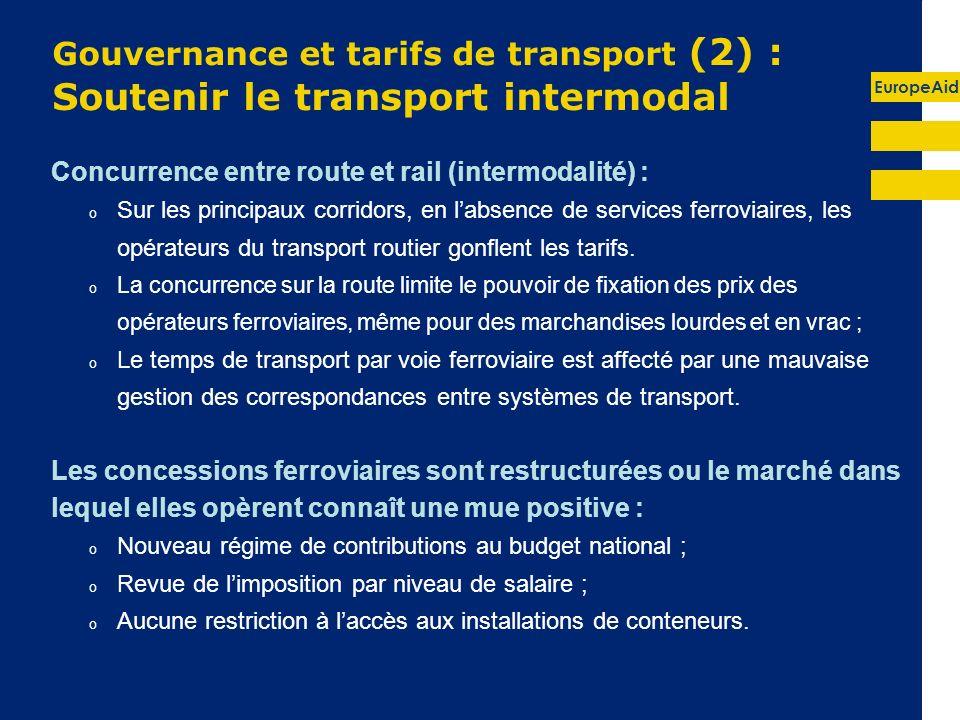 EuropeAid Gouvernance et tarifs de transport (2) : Soutenir le transport intermodal Concurrence entre route et rail (intermodalité) : o Sur les principaux corridors, en labsence de services ferroviaires, les opérateurs du transport routier gonflent les tarifs.