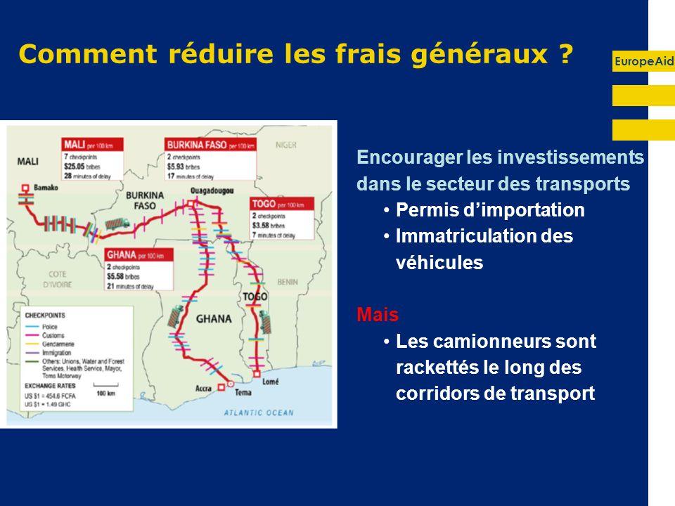 EuropeAid Comment réduire les frais généraux ? Encourager les investissements dans le secteur des transports Permis dimportation Immatriculation des v