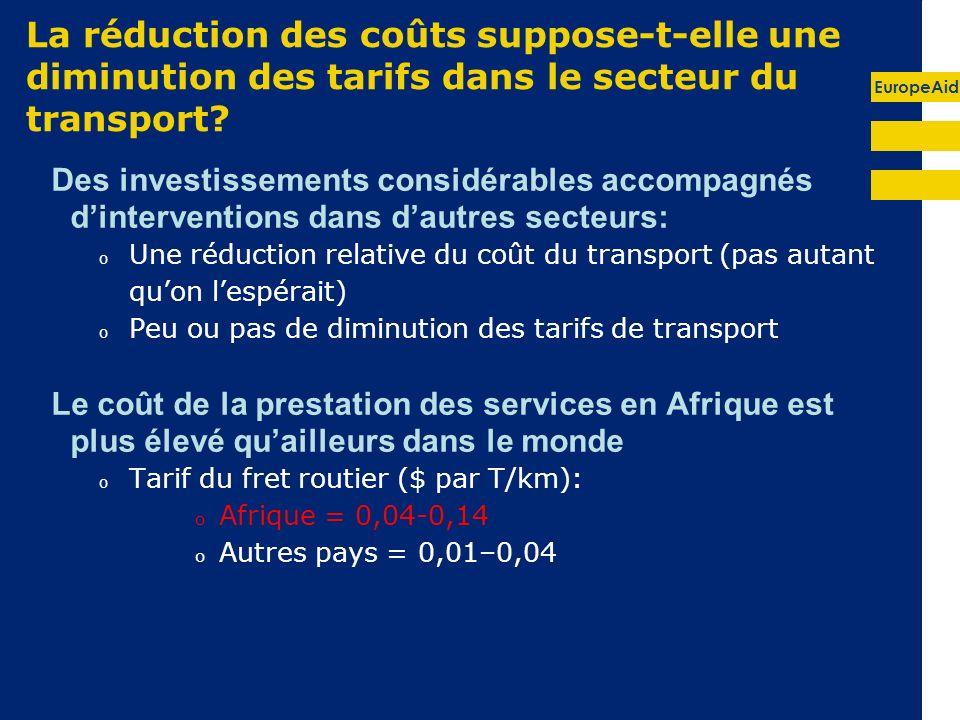 EuropeAid La réduction des coûts suppose-t-elle une diminution des tarifs dans le secteur du transport.