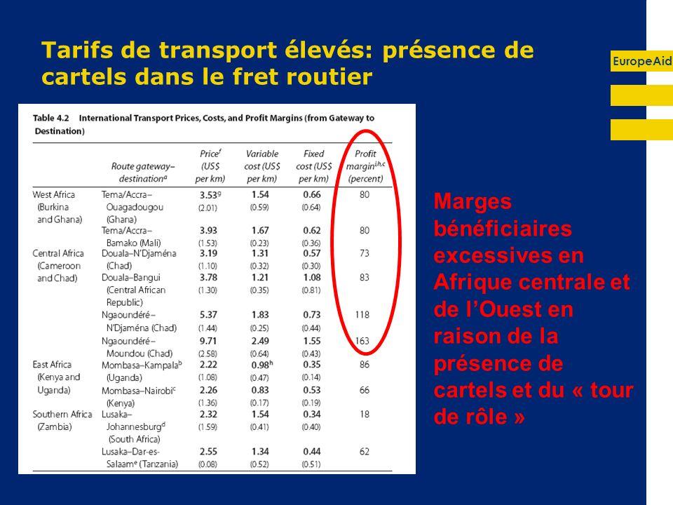 EuropeAid Tarifs de transport élevés: présence de cartels dans le fret routier Marges bénéficiaires excessives en Afrique centrale et de lOuest en raison de la présence de cartels et du « tour de rôle »