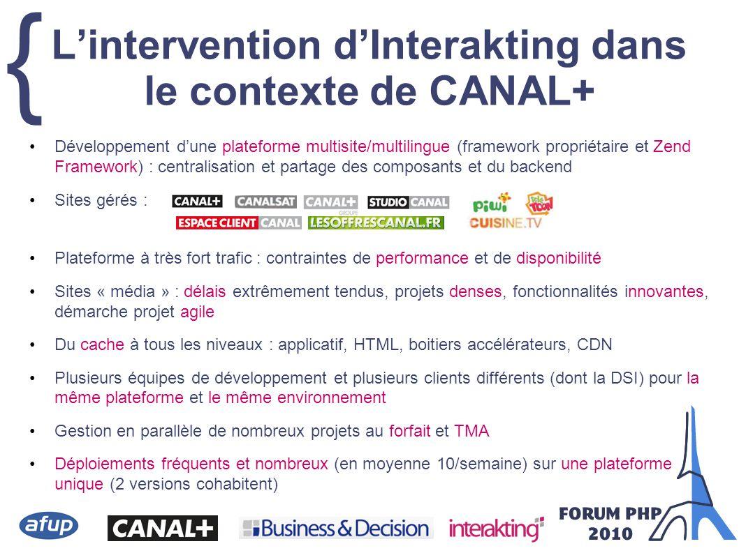 { Lintervention dInterakting dans le contexte de CANAL+ Développement dune plateforme multisite/multilingue (framework propriétaire et Zend Framework)