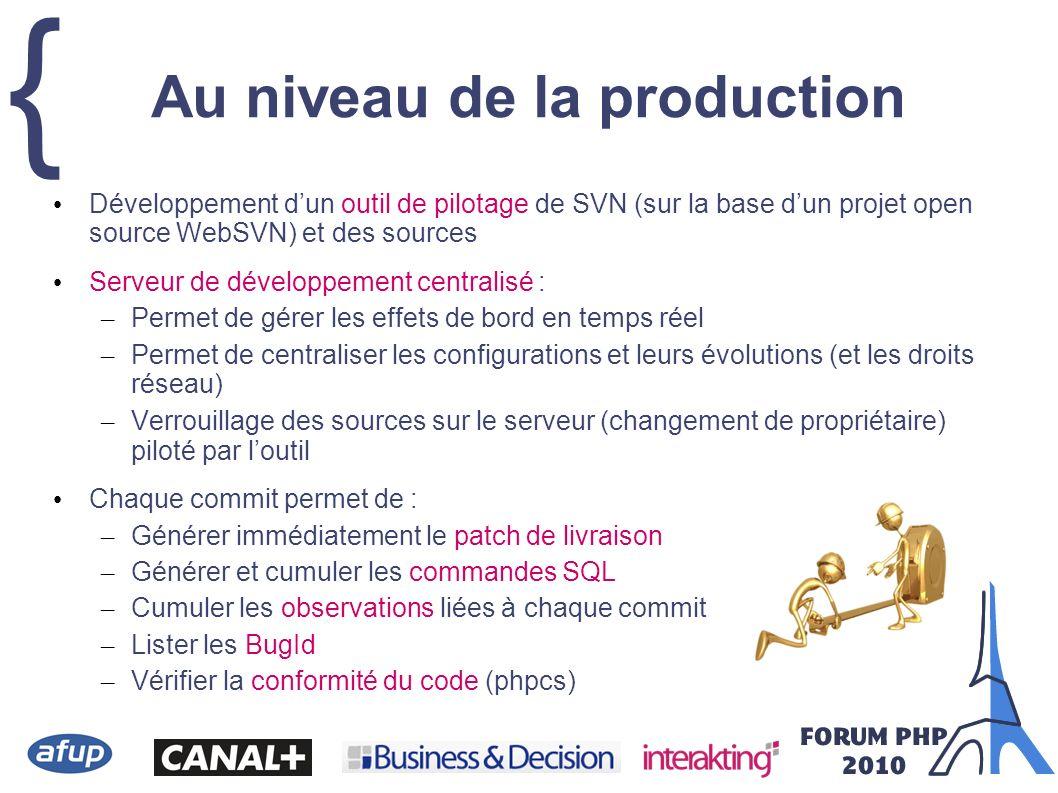 { Développement dun outil de pilotage de SVN (sur la base dun projet open source WebSVN) et des sources Serveur de développement centralisé : – Permet