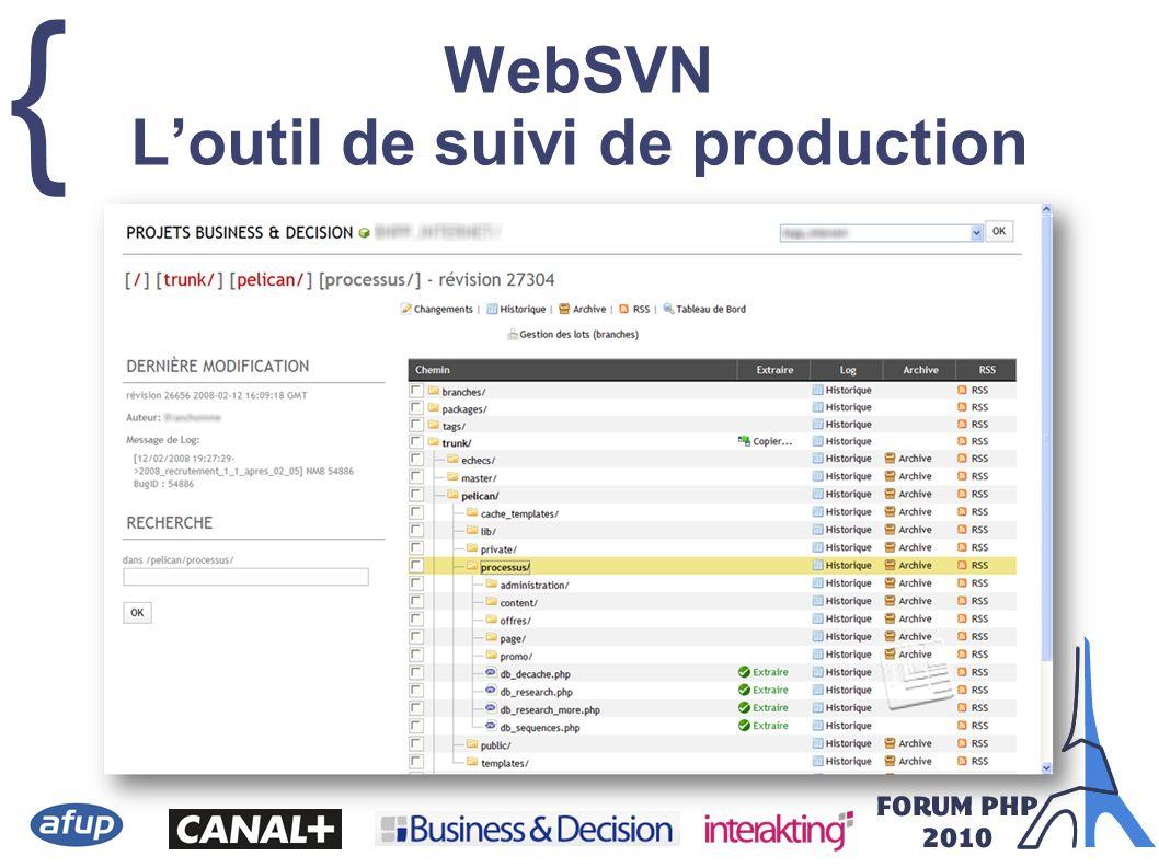 { WebSVN Loutil de suivi de production