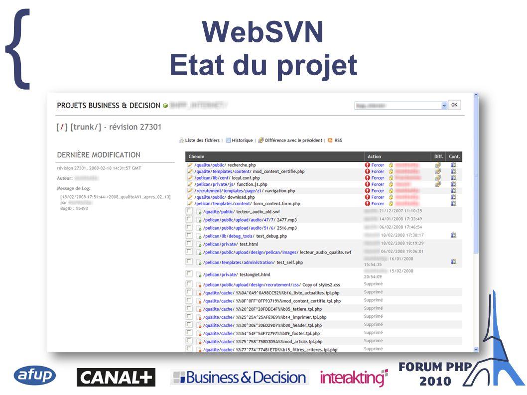 { WebSVN Etat du projet