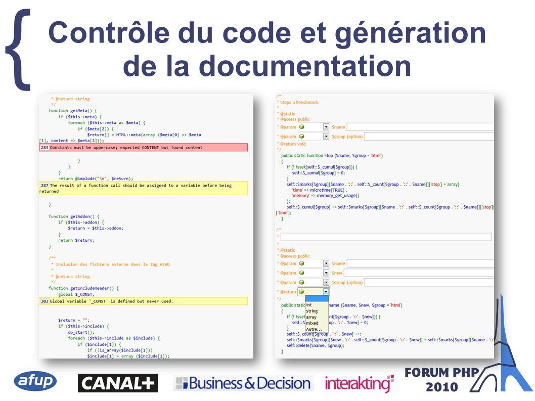 { Contrôle du code et génération de la documentation